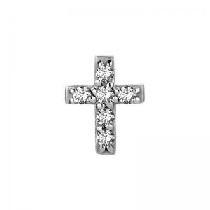 Piercingsmycke - Kors med vita kristaller