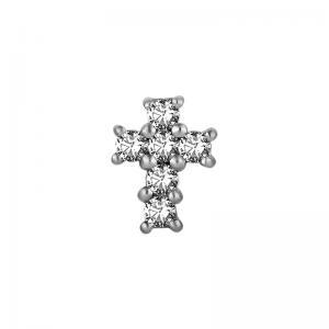 Kors - Topp till piercing - Vita kristaller