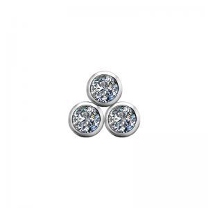 Trinity topp till piercingsmycke - Vita kristaller