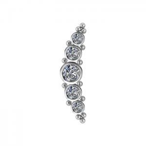 Rad med vita kristaller -  Topp till piercing