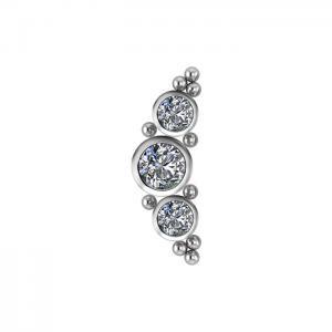 Topp till piercing - Rad med vita kristaller