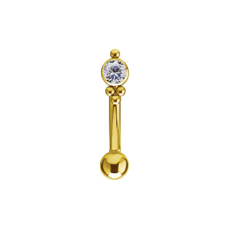 Böjd stav till piercing - Piercingsmycke i guld med vit kristall