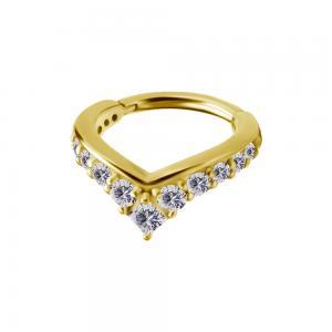 Ring till piercing - Spetsig clicker med vita kristaller - 24k-guld pvd