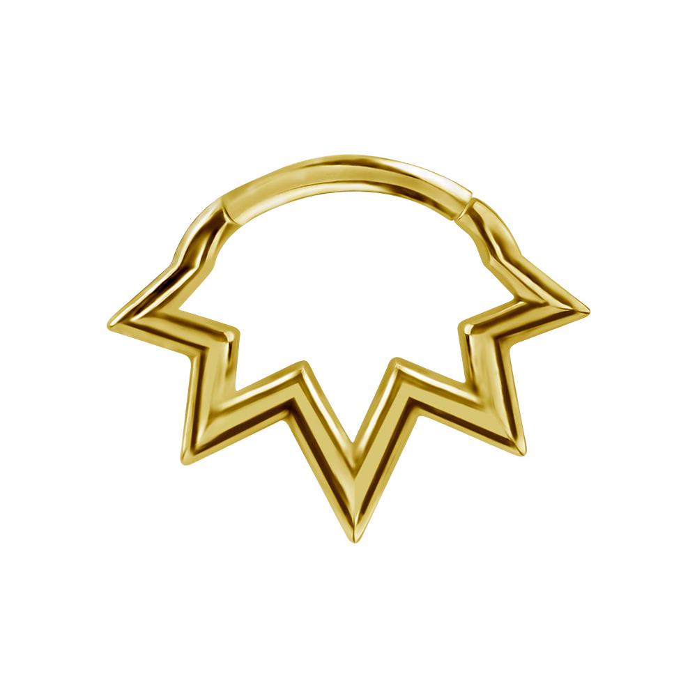 Septum / Daith Clicker - Piercingsmycke  - Stjärna - 24k-guld PVD