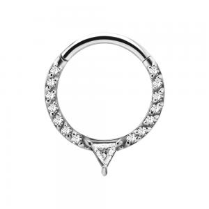 Clicker ring - Piercingsmycke i kirurgiskt stål med vita kristaller