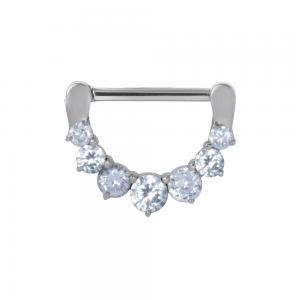 Ring till nipple piercing - Clicker till bröstvårta med stora vita kristaller