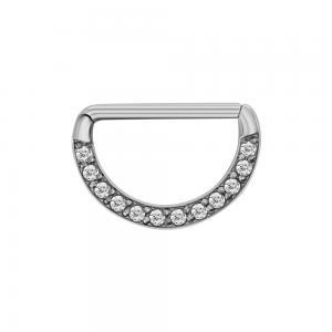 Ring till nipple piercing - Clicker till bröstvårta med vita kristaller