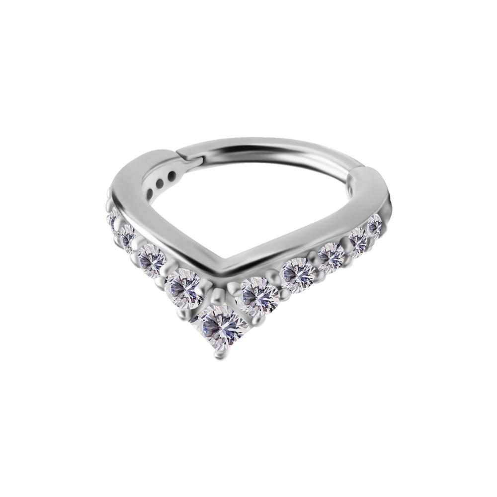Ring till piercing - Spetsig clicker med vita kristaller
