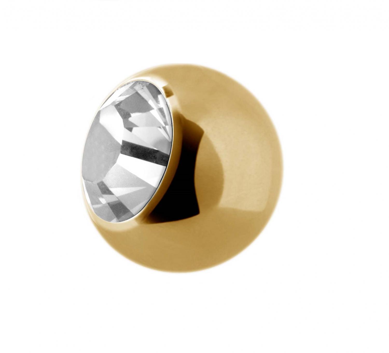 Guldig Kula till piercing - Vit Kristall - Kirurgiskt Stål