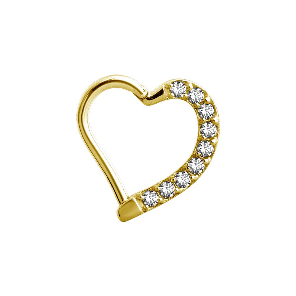 Daith Clicker - Piercingsmycke 24k-guld PVD - Hjärta
