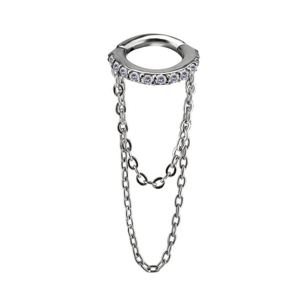 Clicker ring till piercing - Kedja - Helixsmycke med vita kristaller