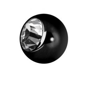 Kula till piercing - Vit kristall - Svart kirurgiskt Stål