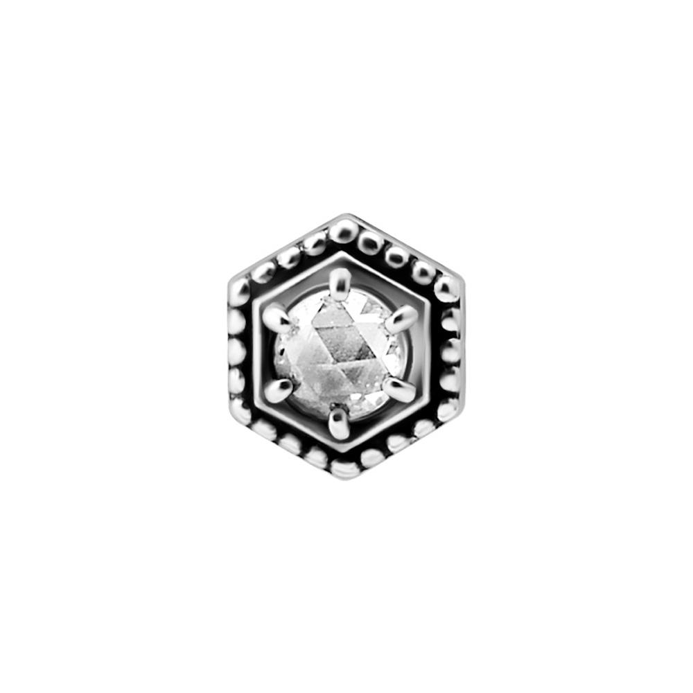 Topp i geometrisk design med vit kristall - Piercingsmycke i kirurgiskt stål