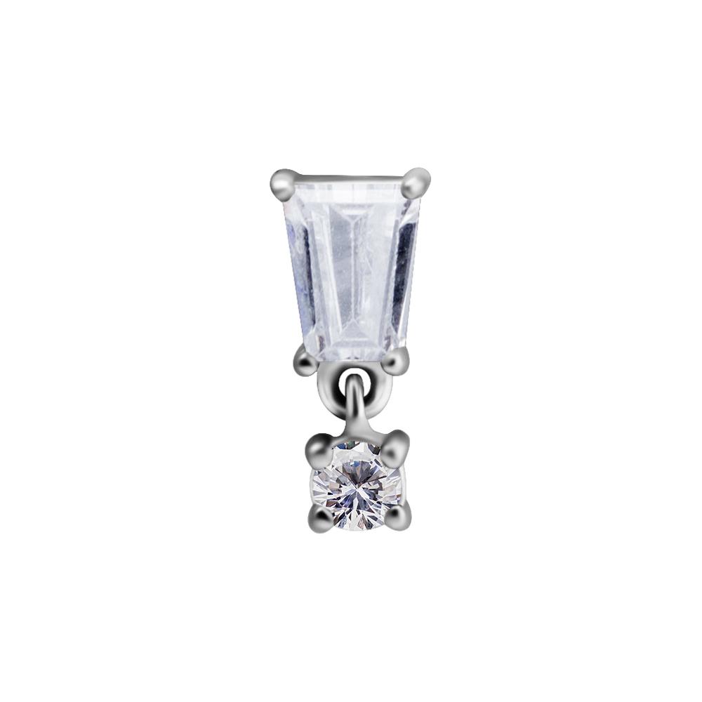 Topp med hängsmycke - Piercingsmycke - Vita kristaller