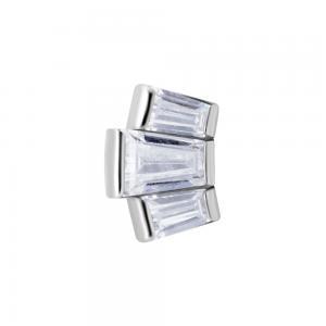 Cluster topp med vita kristaller - Piercingsmycke i kirurgiskt stål