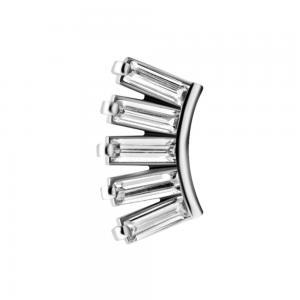 Cluster topp med fem vita kristaller - Piercingsmycke i kirurgiskt stål