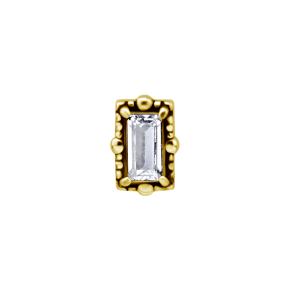 Topp till piercing - Guld - Kirurgiskt stål - Kristall fyrkant
