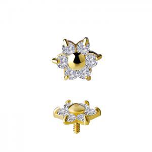 Blomma - 18k Guld - Topp till piercing