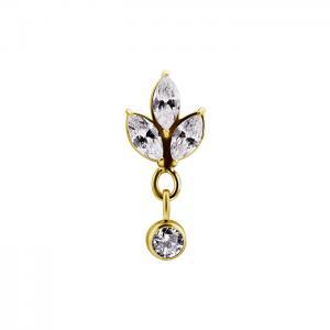 Lotus dangle - Topp till piercing - Guld - Kirurgiskt stål