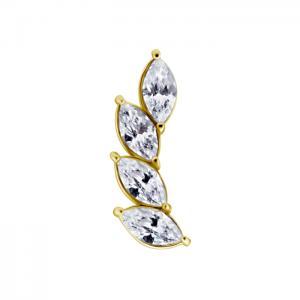 Rad med vita kristaller - Topp i guld - Piercingsmycke i kirurgiskt stål
