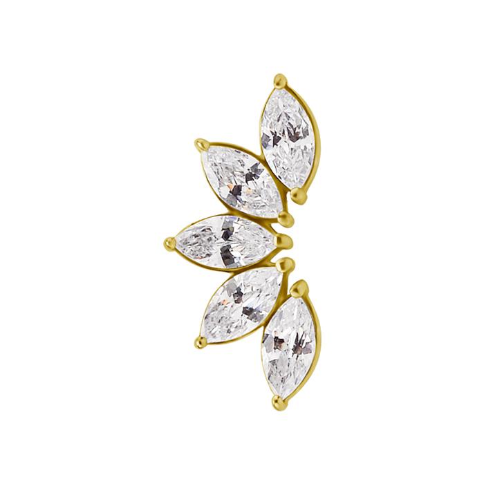 Rad med vita kristaller - Guld-topp - Piercingsmycke i kirurgiskt stål