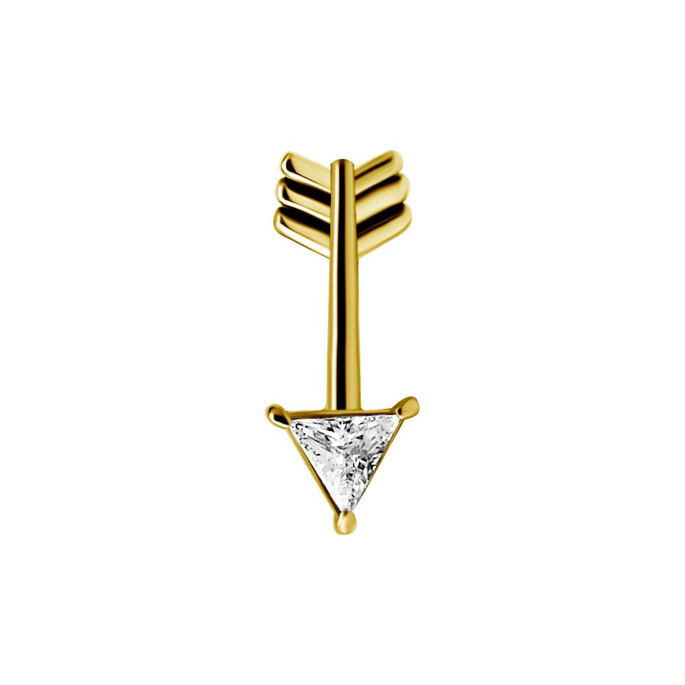 Piercingsmycke - 24k-guld PVD - Topp med vit kristall - Pil