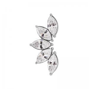 Rad med vita kristaller - Topp - Piercingsmycke i kirurgiskt stål