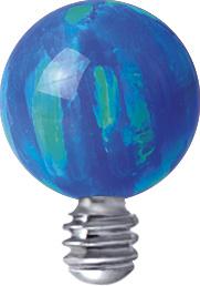 1.6mm - Blå Opalit topp till piercingsmycke