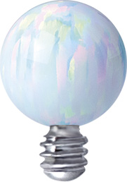 1.6mm - Vit Opal topp till piercingsmycke