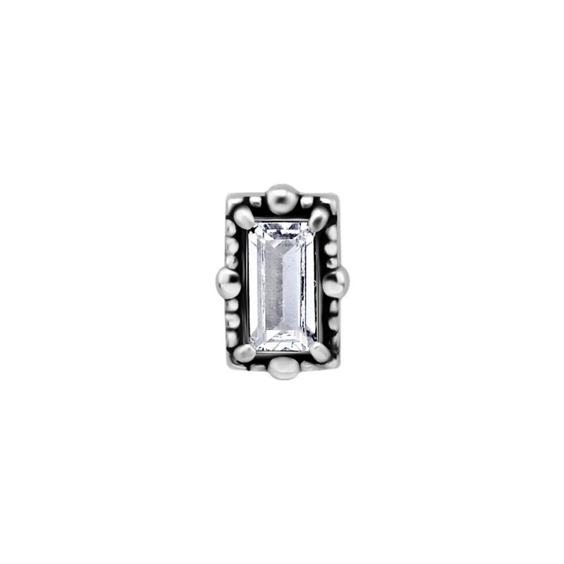 Topp med kristall - Piercingsmycke i kirurgiskt stål - Vit sten