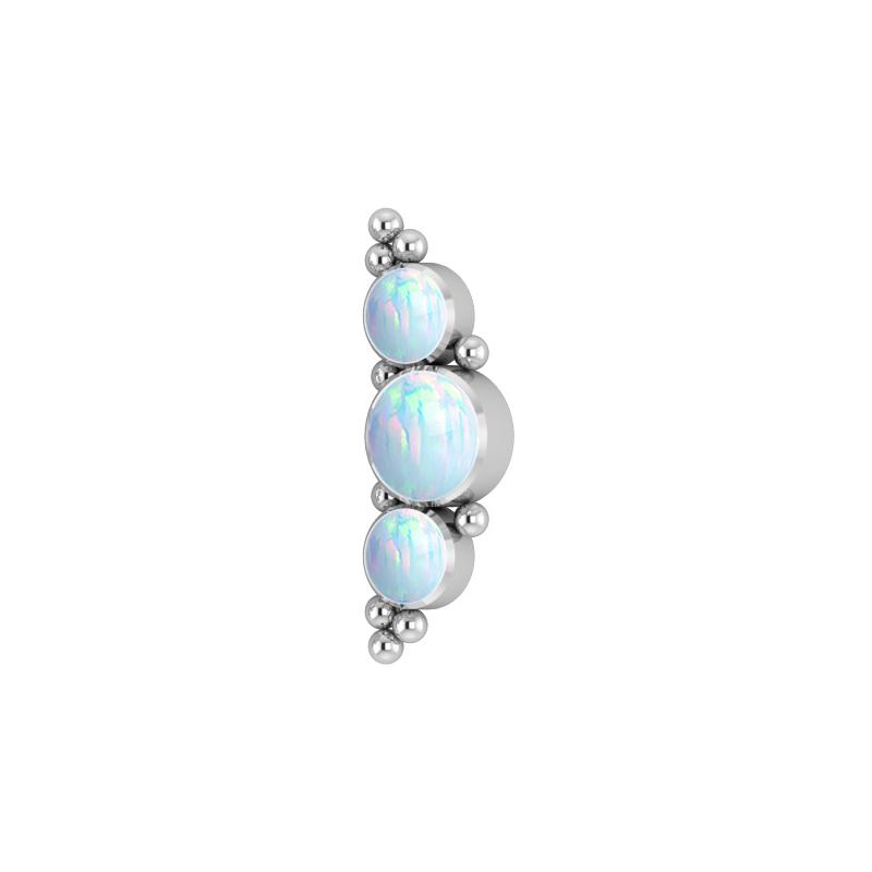Opalit topp - Piercingsmycke i titan - Rad med vita stenar