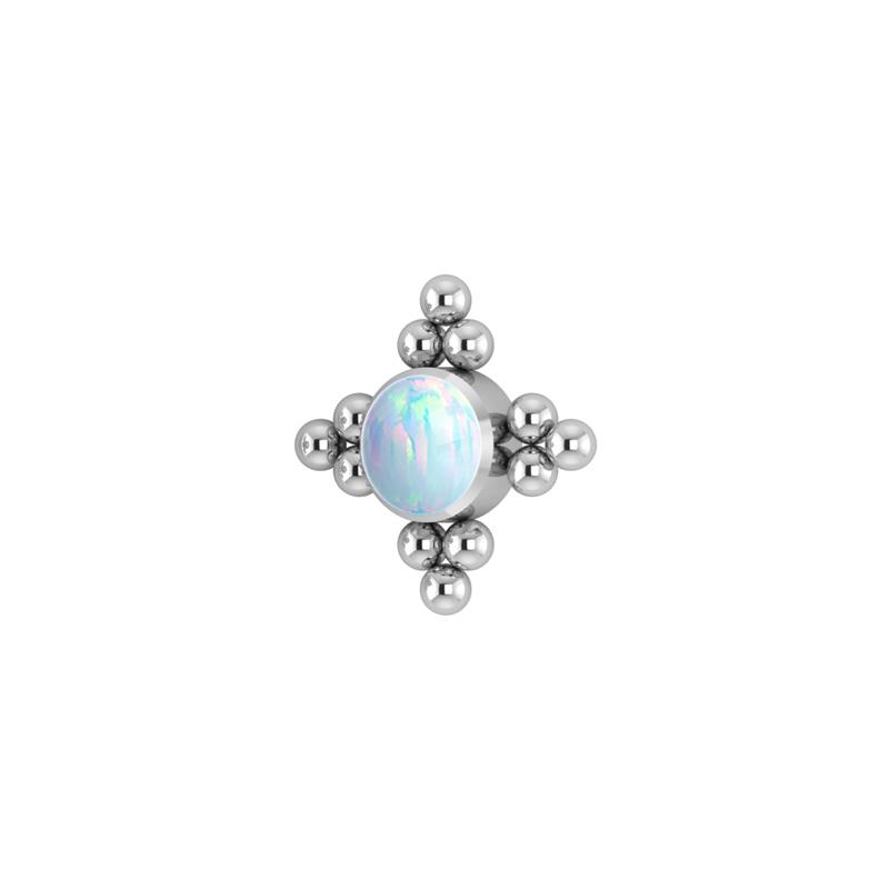 Stjärna med vit opalit - Topp - Piercingsmycke i titan