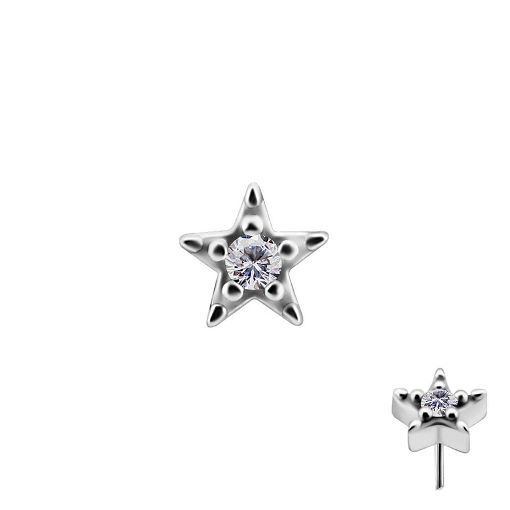 Liten stjärna med kristall - Push fit topp - Threadless piercingsmycke