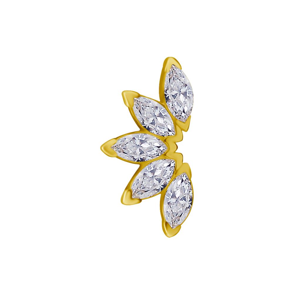 Cluster topp - 18k Guld - Piercingsmycke - Vita Kristaller