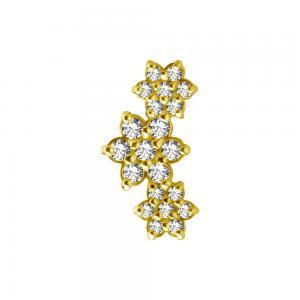 Cluster topp - Stjärnor 18k Guld - Piercingsmycke - Vita Kristaller