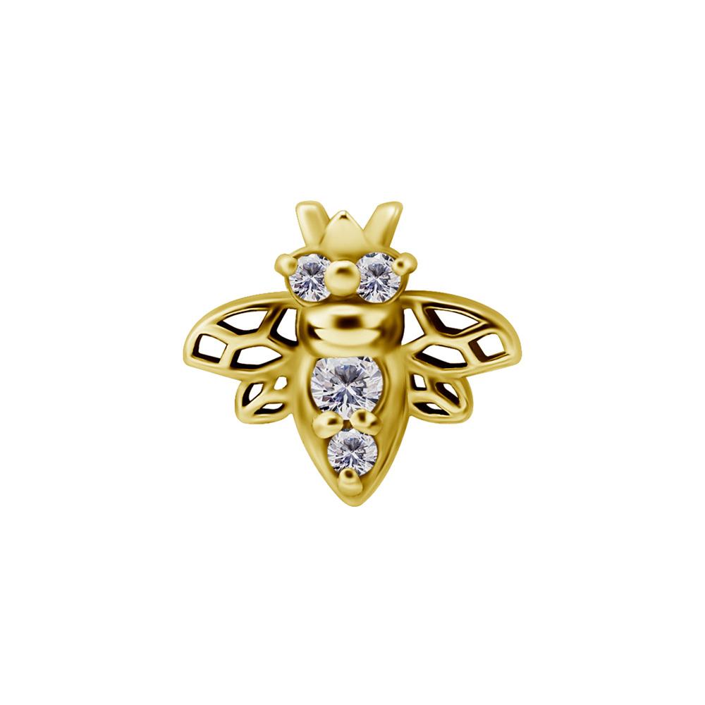 Bi topp med vit kristall - 24k guld pvd - Piercingsmycke i kirurgiskt stål