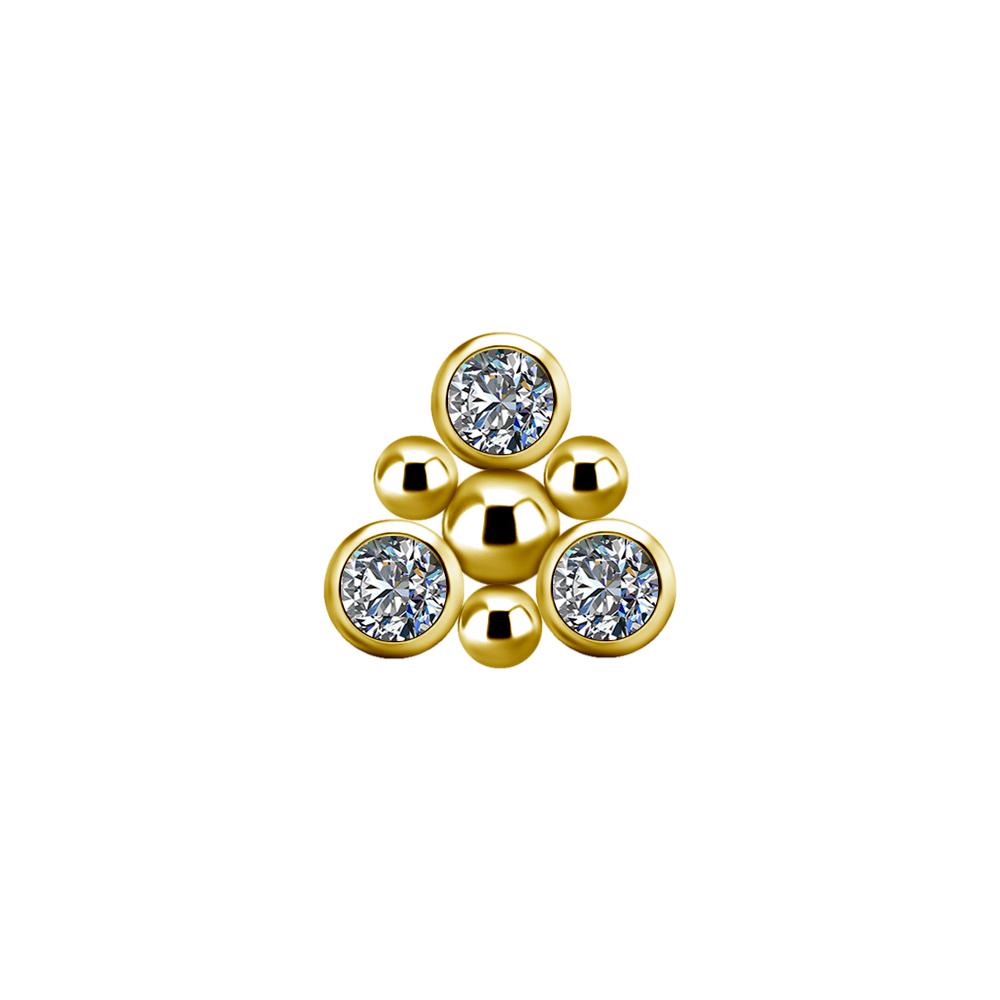 Cluster topp med vita kristaller - Piercingsmycke - 24k Guld pvd