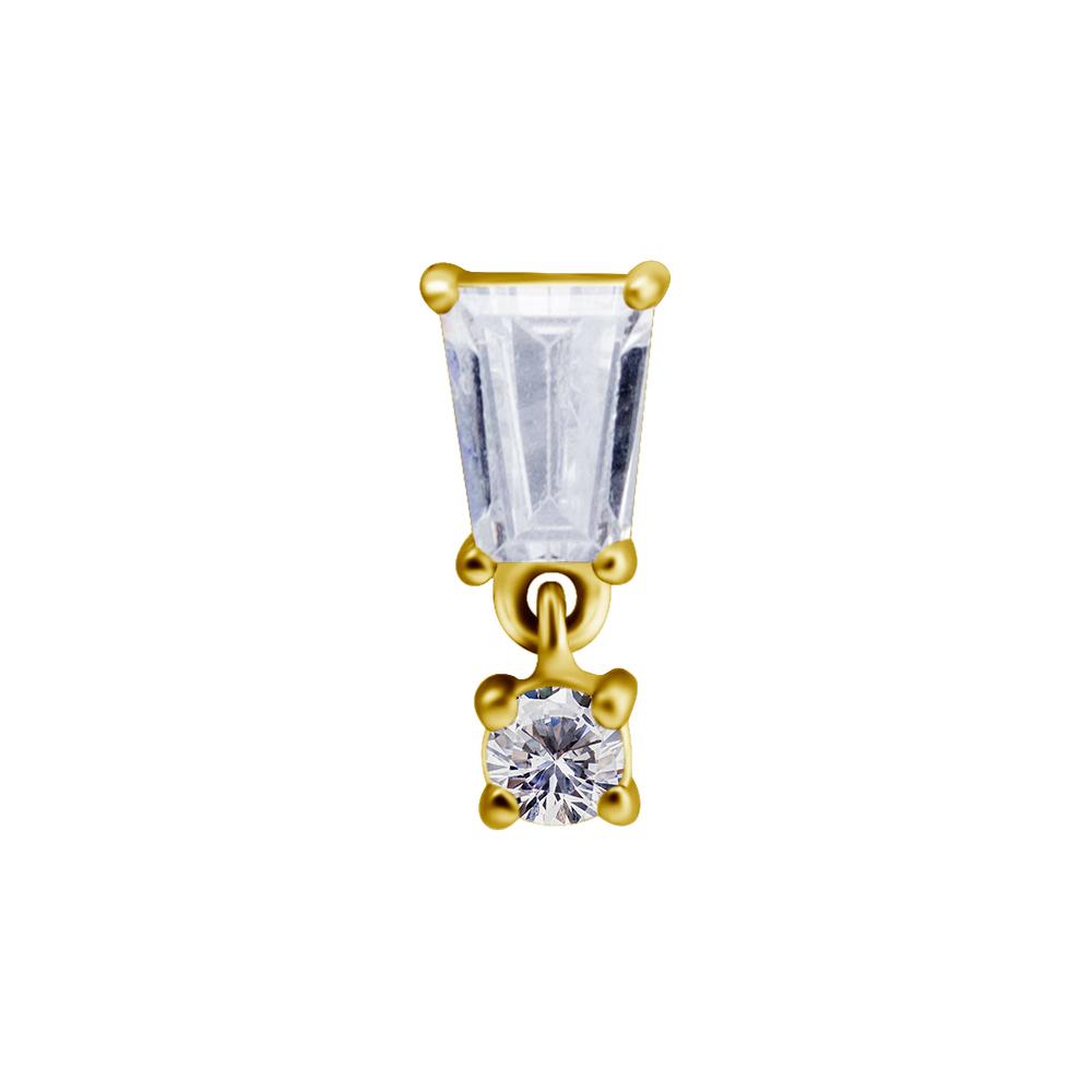 Topp med hängsmycke - Piercingsmycke - Guld - Kirurgiskt stål