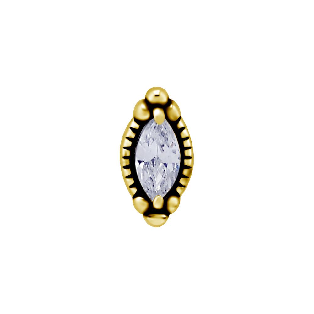 Topp med vit kristall - 24k guld pvd - Piercingsmycke i kirurgiskt stål
