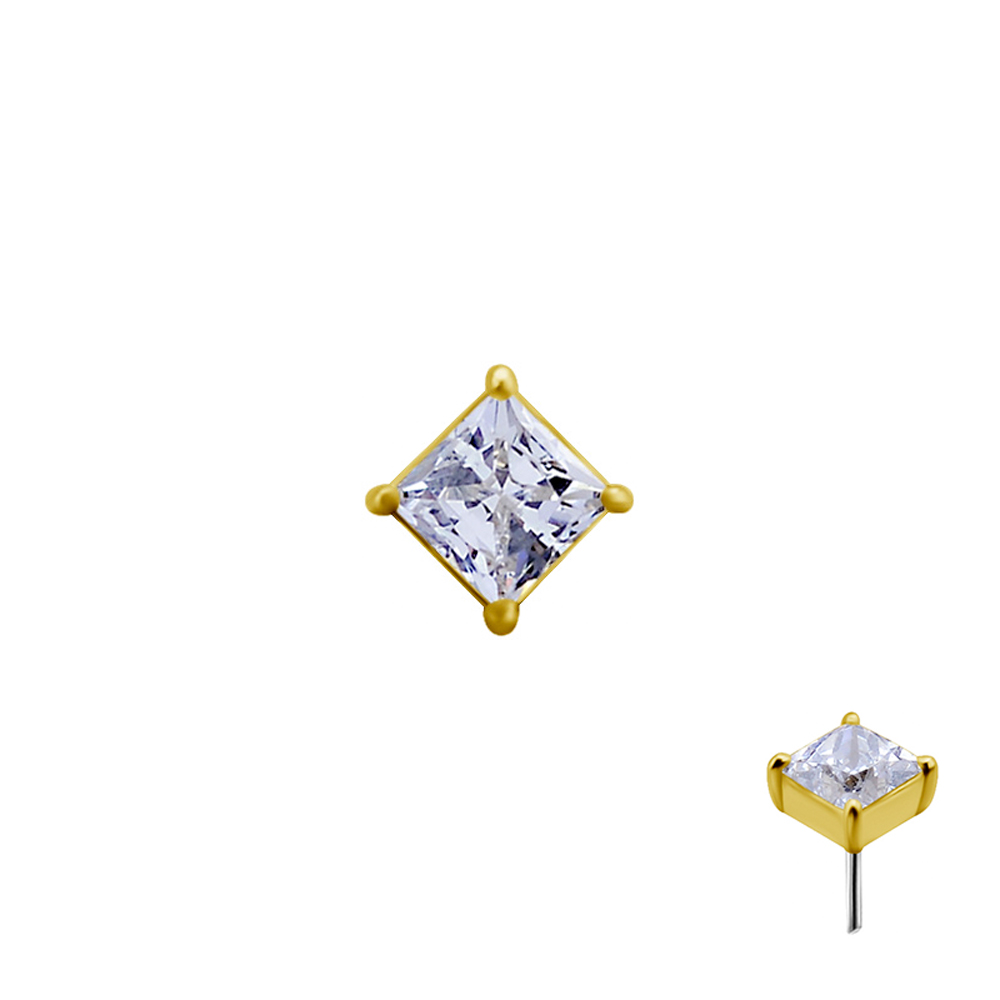Liten fyrkantig kristall - Push fit topp i äkta guld - Threadless piercingsmycke