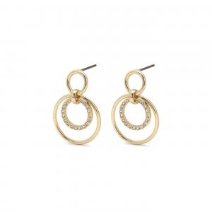 Guldiga studs örhängen med motiv av cirklar och kristaller från Pilgrim.
