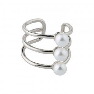 Ear cuff - Pilgrim - silvrig tripplar ringar med pärlor