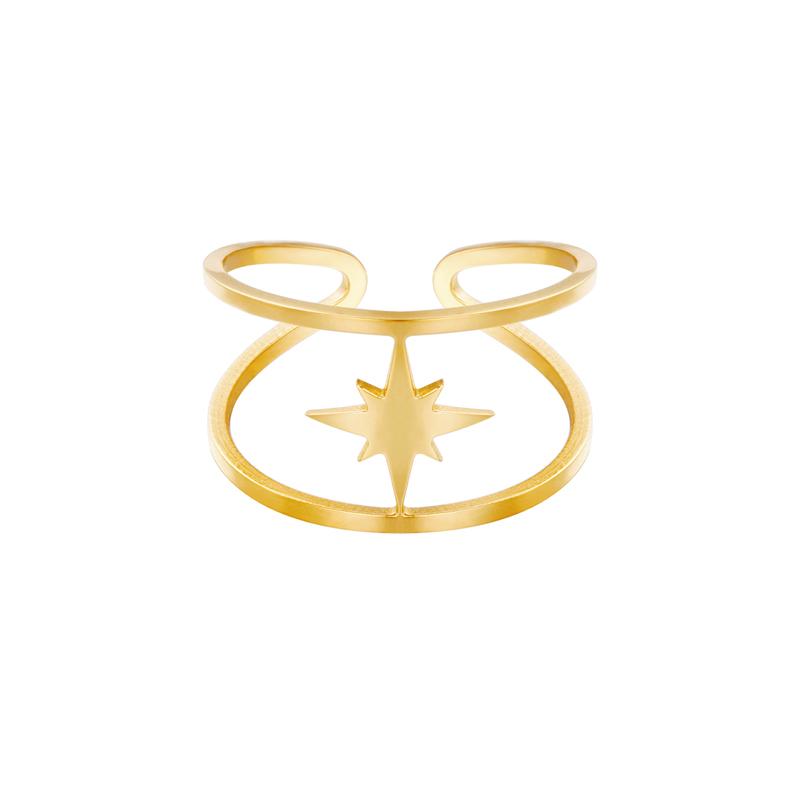 Guldring i kirurgiskt stål - Stjärna