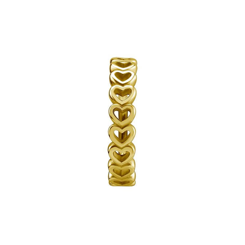 Guldring med hjärtan till piercing. Piercingsmycket visas framifrån.