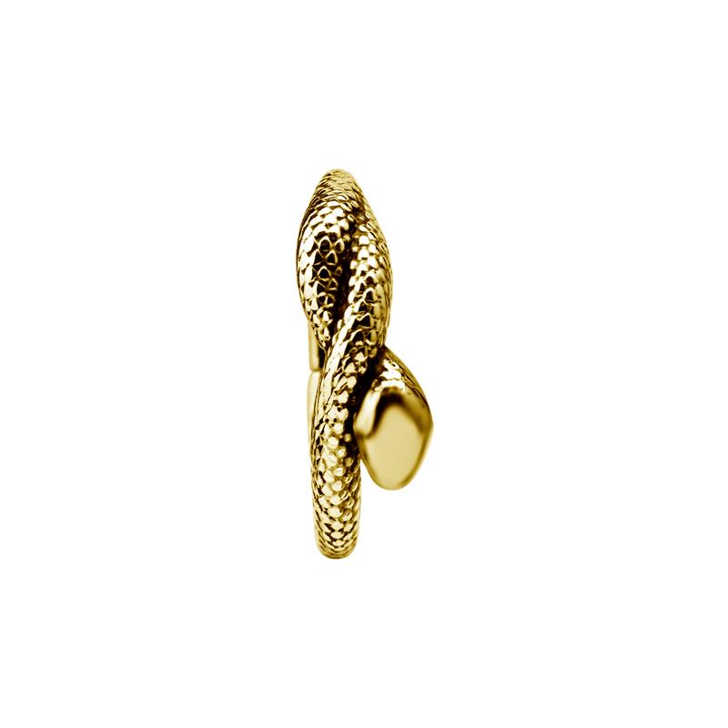 Guldring med orm till piercing. Piercingsmycket visas framifrån.
