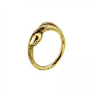 Guldring med orm till piercing