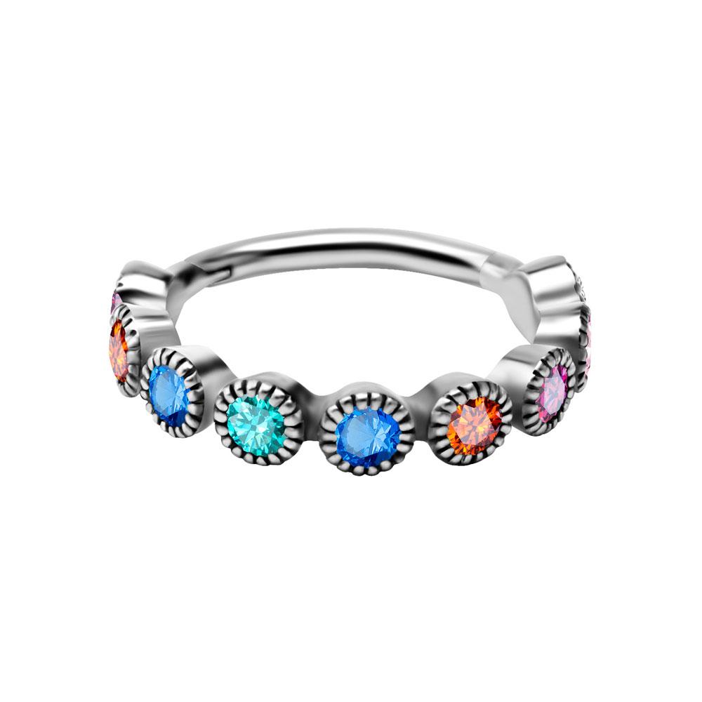 Ring till piercing - Clicker regnbågskristaller