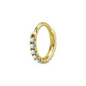 Ring till piercing - Clicker med vit Opalit - Guld