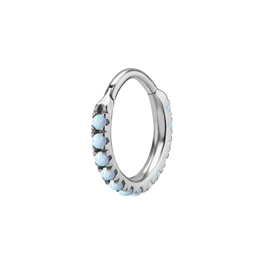 Ring till piercing - Clicker med Vit opalit