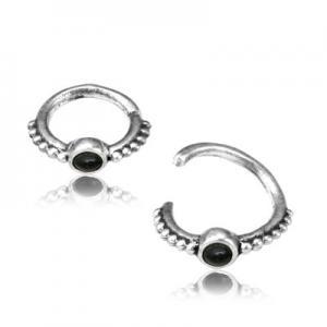 Ring till piercing - Äkta Silver - Svart sten
